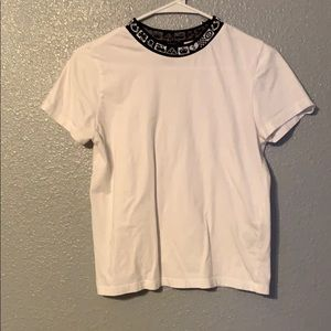 White Tee With Black Collar